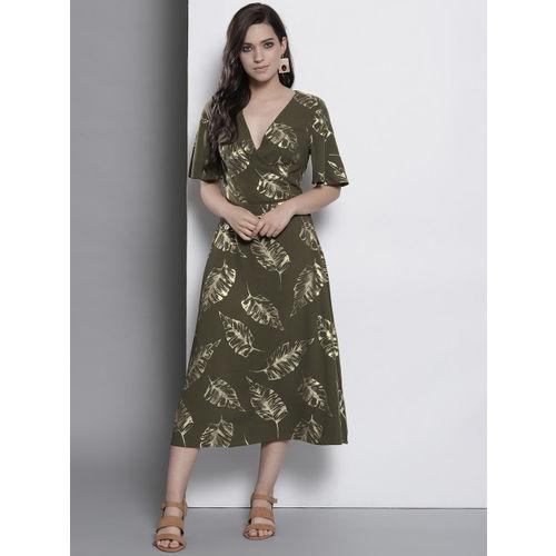 DOROTHY PERKINS Women Olive Green Printed Midi Wrap Dress
