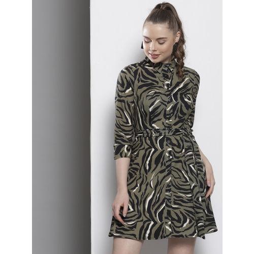 DOROTHY PERKINS Women Olive Green Animal Print Shirt Dress