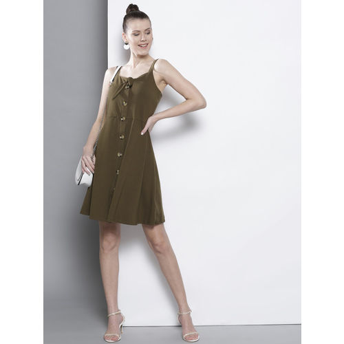 DOROTHY PERKINS Women Olive Green Solid A-Line Dress