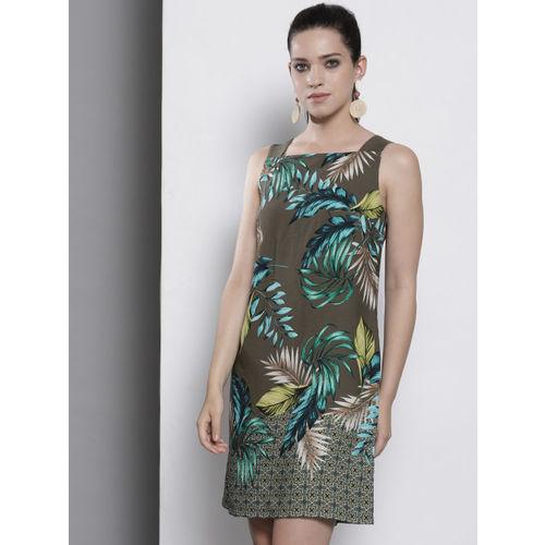 DOROTHY PERKINS Women Olive Green Printed A-Line Dress
