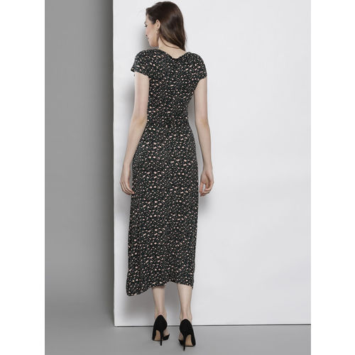 DOROTHY PERKINS Women Olive Green & Peach-Coloured Printed A-Line Dress