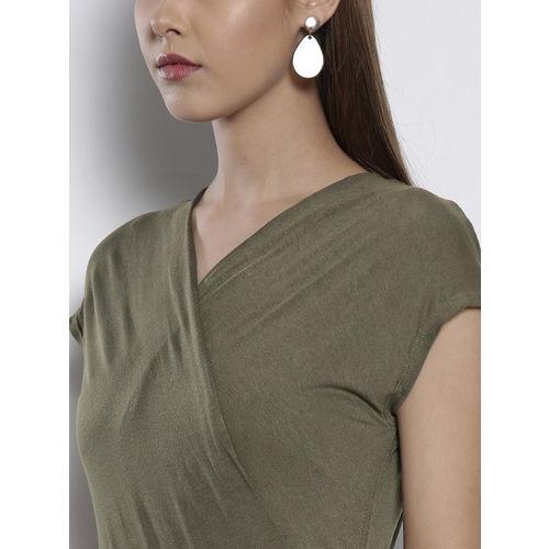 DOROTHY PERKINS Women Olive Green Solid Maxi Dress