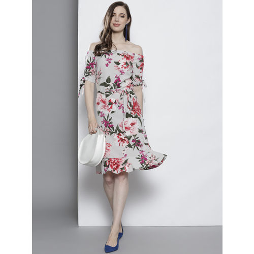 DOROTHY PERKINS Women Grey & Pink Floral Print A-Line Dress