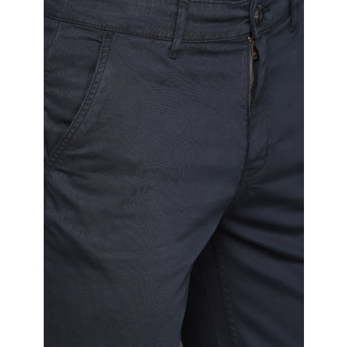 WROGN Men Navy Blue Solid Slim Fit Chino Shorts