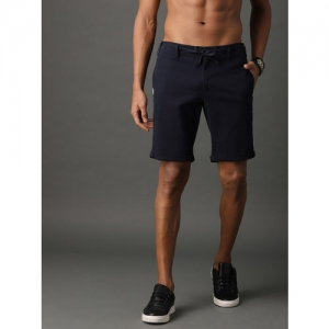 Roadster Men Navy Solid Regular Fit Regular Shorts