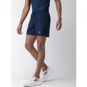 2GO Men Navy Blue Regular Fit Solid Go-Dry Running Sports Shorts