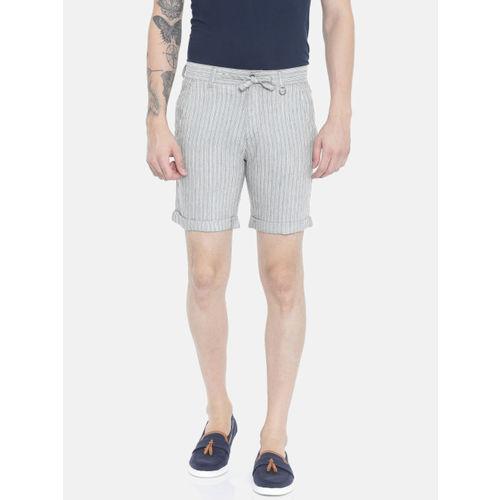 Jack & Jones Men Grey & White Striped Slim Fit Chino Shorts