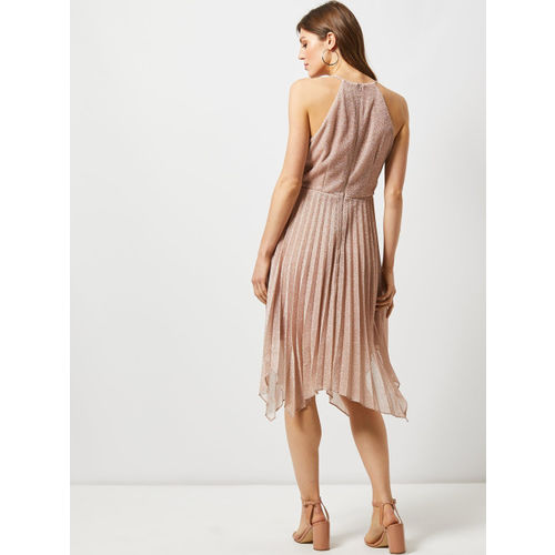 DOROTHY PERKINS Women Dusty Pink Solid Fit & Flare Dress