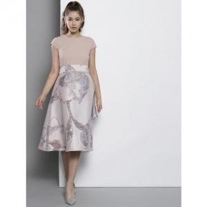DOROTHY PERKINS Women Dusty Pink & Grey Self Design A-Line Dress