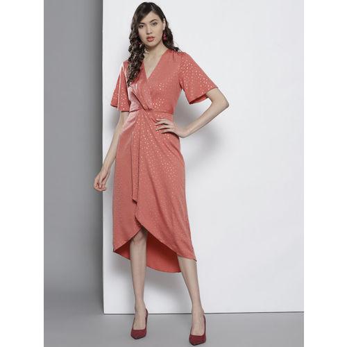 DOROTHY PERKINS Women Dusty Pink Printed Wrap Dress