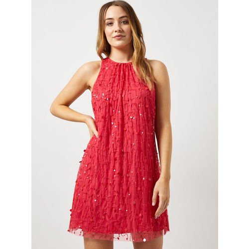 DOROTHY PERKINS Women Pink Embellished A-Line Net Dress
