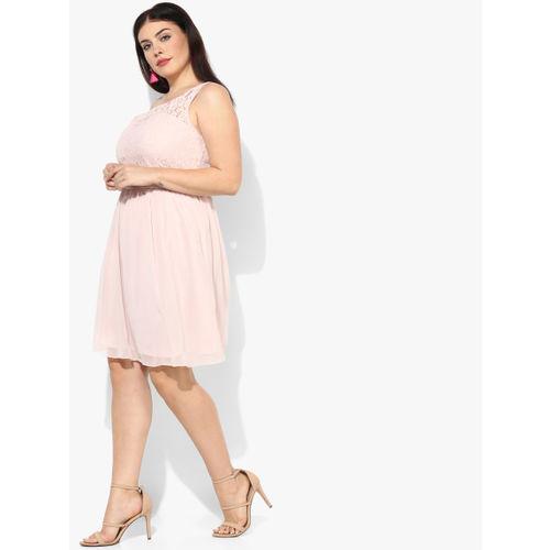 DOROTHY PERKINS Pink Solid Skater Dress
