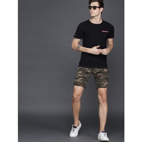 WROGN Men Olive Green & Black Printed Slim Fit Chino Shorts