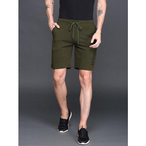 WROGN Men Olive Green Solid Regular Fit Regular Shorts