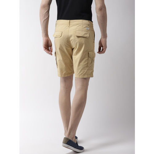 Flying Machine Men Khaki Solid Regular Fit Cargo Shorts