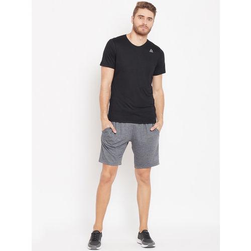 Reebok Men Grey Melange Solid Training Essential Jersey Shorts
