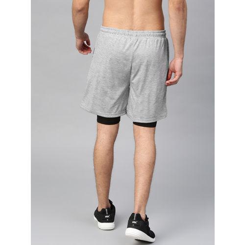 HRX by Hrithik Roshan Men Grey Melange Solid Regular Fit Sports Shorts