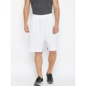 Reebok Men White Solid US Mesh 9-inch Basketball Training Shorts