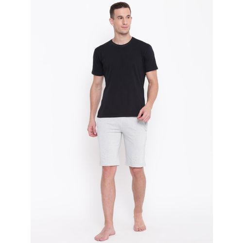 Sweet Dreams Men White & Navy Blue Self-Design Lounge Shorts MK-1625A9