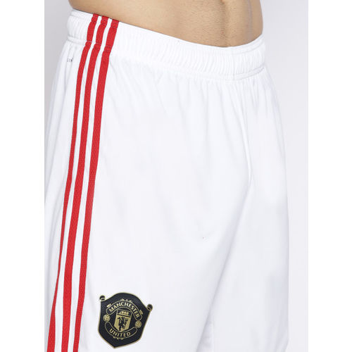ADIDAS Men White Manchester United F.C. Home Solid Football Shorts