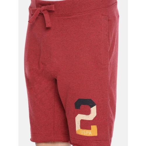 U.S. Polo Assn. Denim Co. Men Red Solid Regular Fit Regular Shorts