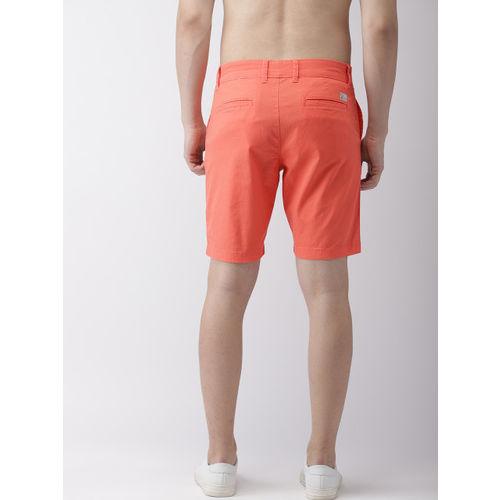Flying Machine Men Orange Solid Slim Fit Chino Shorts