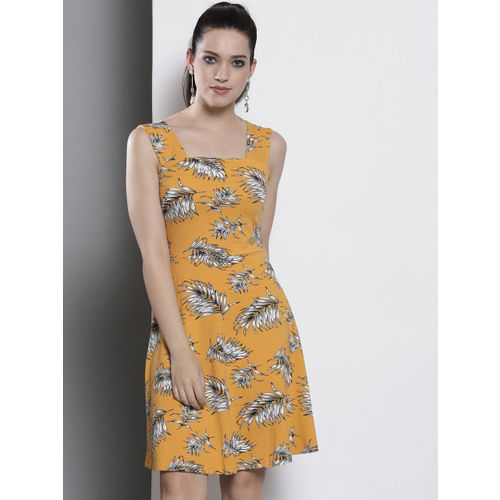 DOROTHY PERKINS Women Mustard Yellow Printed A-Line Dress