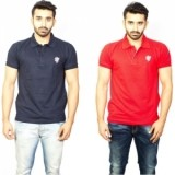 1OhOne Solid Men's Polo Blue&Red T-Shirt