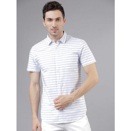 HIGHLANDER Men White & Grey Slim Fit Striped Casual Shirt