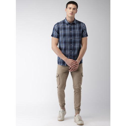 Celio Men Blue & White Regular Fit Checked Casual Shirt
