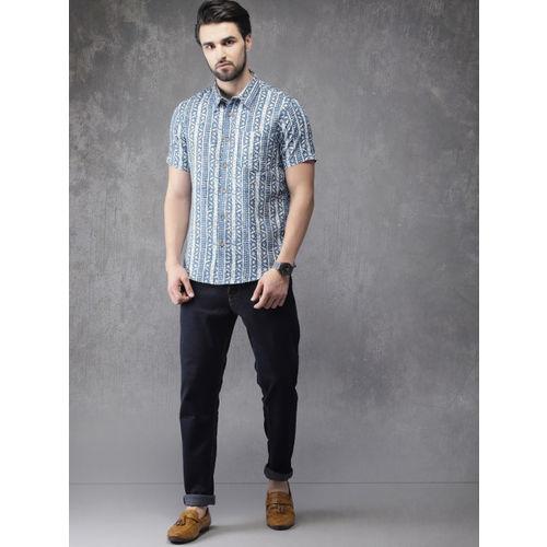 Anouk Men Blue & Off-White Regular Fit Printed Casual Shirt