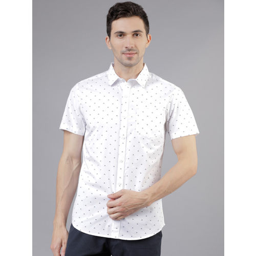 HIGHLANDER Men White & Navy Blue Slim Fit Printed Casual Shirt