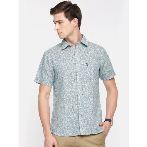 U.S. Polo Assn. Men Beige & Blue Regular Fit Printed Casual Shirt