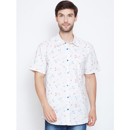 Oxolloxo Men White Regular Fit Printed Casual Shirt