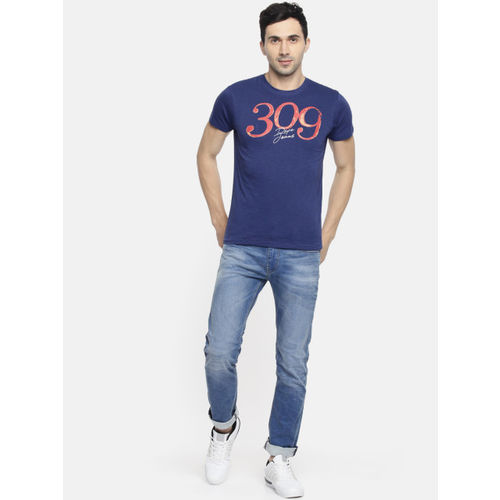 Pepe Jeans Men Blue Printed Round Neck T-shirt