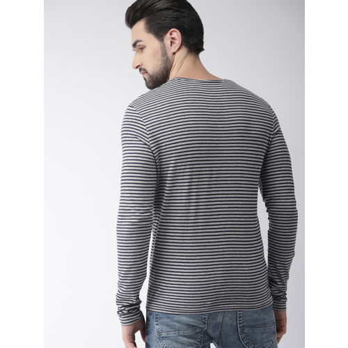 Celio Men Grey & Navy Blue Striped Round Neck T-shirt
