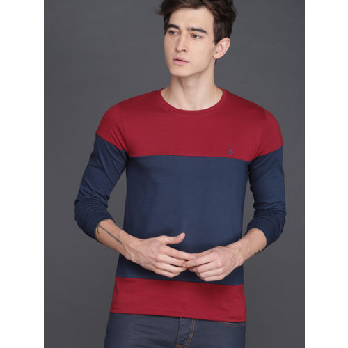 WROGN Men Navy Blue & Red Slim Fit Colourblocked Round Neck T-shirt