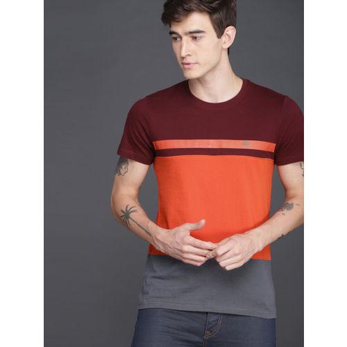 WROGN Men Orange & Maroon Slim Fit Colourblocked Round Neck T-shirt