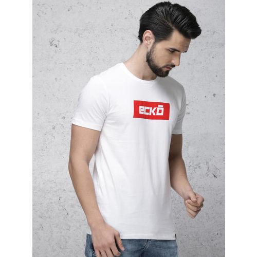 Ecko Unltd Men White & Red Printed Round Neck T-shirt