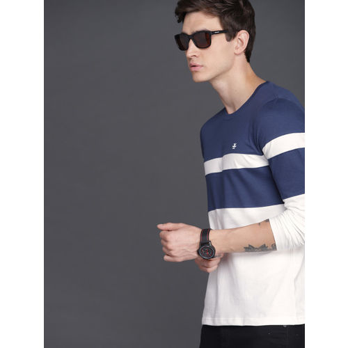WROGN Men Navy Blue & White Slim Fit Colourblocked Round Neck T-shirt