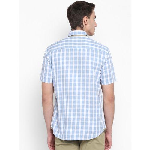 Park Avenue Men Blue Slim Fit Checked Casual Shirt