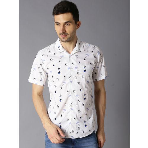 Bene Kleed Men White & Blue Slim Fit Printed Casual Shirt