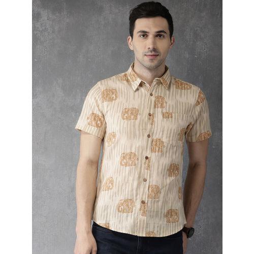 Anouk Men Beige Regular Fit Printed Casual Shirt