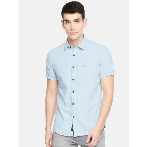 U.S. Polo Assn. Denim Co. Men Blue & White Slim Fit Printed Casual Shirt
