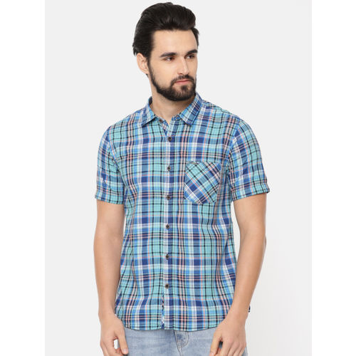Pepe Jeans Men Green & Blue Slim Fit Checked Casual Shirt