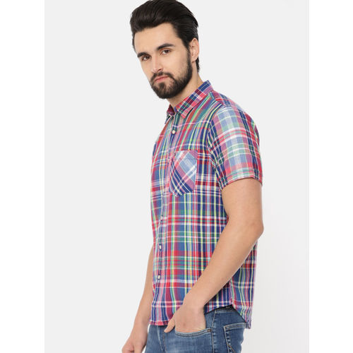 Pepe Jeans Men Red & Green Regular Fit Checked Casual Shirt
