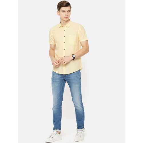 Pepe Jeans Men Yellow Regular Fit Solid Casual Shirt