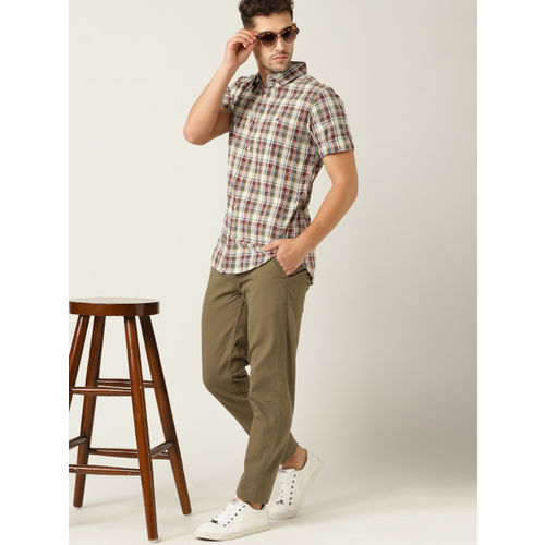 United Colors of Benetton Men Beige & Maroon Regular Fit Checked Casual Shirt