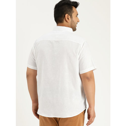 Sztori Men White Regular Fit Solid Casual Shirt