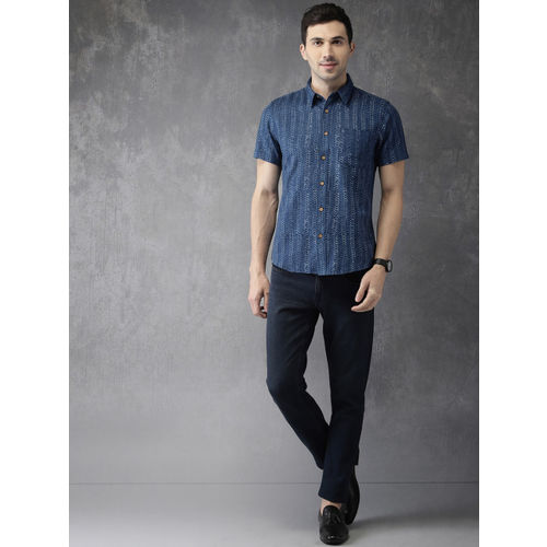 Anouk Men Navy Blue Regular Fit Printed Casual Shirt